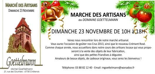 invitation marché des artisans 23 novembre 2014